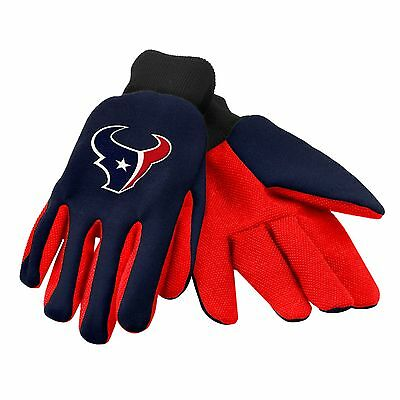 Houston Texans Gloves Sports Logo Utility Work Garden NEW Colored Palm