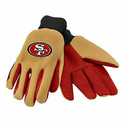 San Francisco 49ers Gloves Sports Logo Utility Work Garden NEW Colored Palm