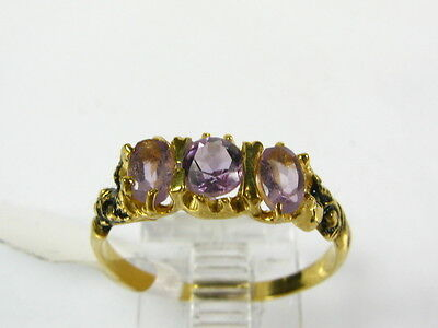Victorian 14k Gold Sterling Natural 3 Stone Amethyst Engraved Ring I063AM