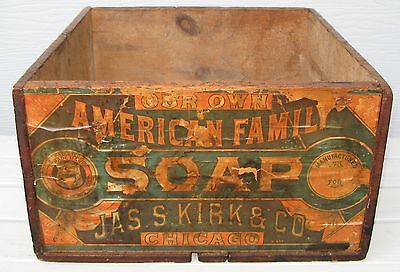 Spectacular Wooden Advertising Box American Family Soap Jas S Kirk Chicago Graph