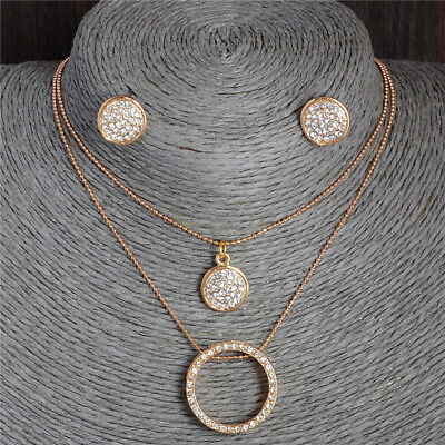 18k Gold Plated Flower AustriaCrystal Jewelry Set Pendant Necklace Stud Earrings
