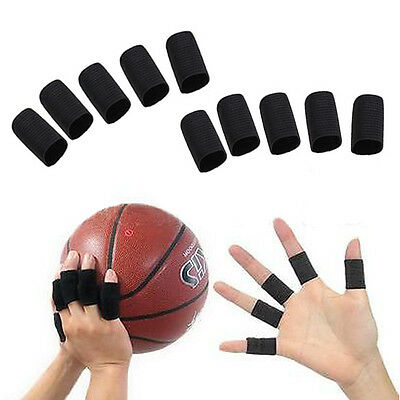 10Pcs Stretchy Finger Protector Sleeve Support Wrap Arthritis Sports Aid Black