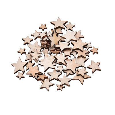 100x Wooden Mini Mixed Wood Stars Craft Cardmaking Scrapbooking Embellishment EF