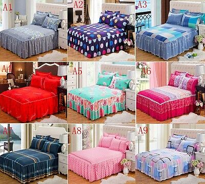 New Bedding Fitted Sheet (Bed Skirt)/Valance And 2 Pillowcases Twin Queen King