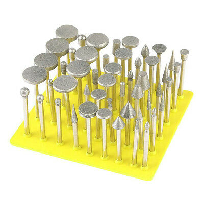 New 50Pc Diamond Coated Grinding Grinder Head Glass Burr For  Rotary Tools