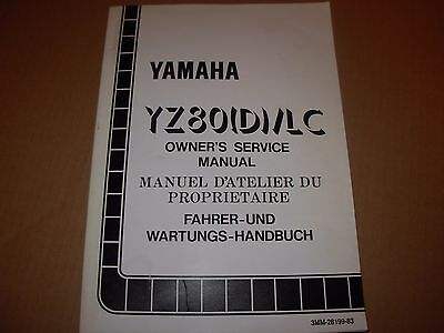 Yamaha YZ80 D LC Motorcycle Service Manual - early 1990's