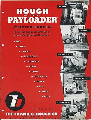 Equipment Brochure - Hough - Payloader - Tractor Shovel Loader  c1952 (E3287)