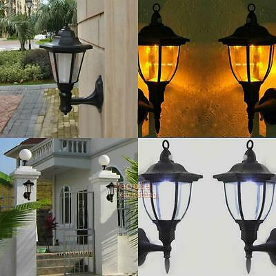 Solar Power LED Wall Mounted Light Outdoor Path Way Landscape Garden Fence Lamp