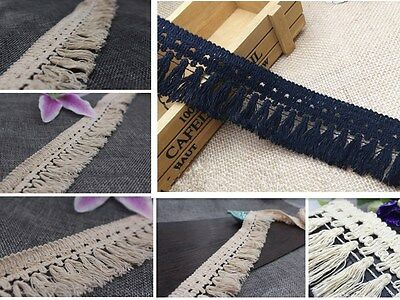 1-10 yds Beige Black Home Craft Sewing Accessory Fringe Tassel Cotton Tool Trims