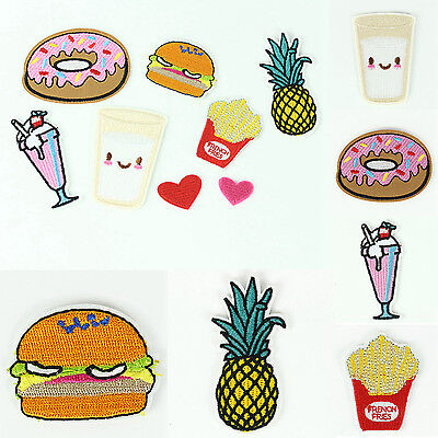 8Pcs Cute Food Fruit Embroidery Sew Iron On Patch Badge Clothes Fabric Applique