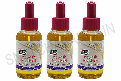 3 x V05 NOURISH MY SHINE MIRACLE CONCENTRATE 50ml ELIXIR WITH ARGAN OIL