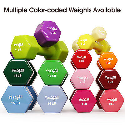 Yes4All Dumbbells PVC Hand Weights Dumbbell 2 - 15 lbs Pair Training Exercise