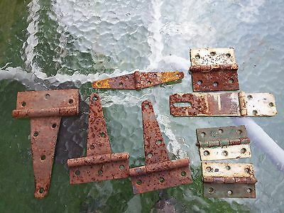 Vintage 3 Hinges POINTED Steel Metal Plus Assorted Hinges