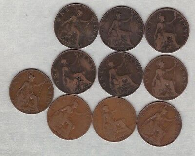 1902 Low Tide & Normal Edward Vii Pennies In A Used Fine Condition