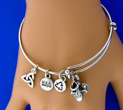 Pewter Irish Hard Dance Shoes Charmalicious Bangle Bracelet(RPEW12)