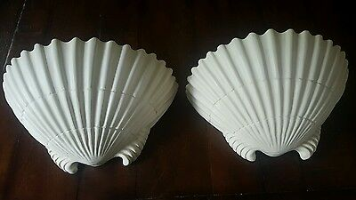 Mid century Shell Form /Clamshell Wall Sconces, Cast Resin, Set of 2 /Sirmos