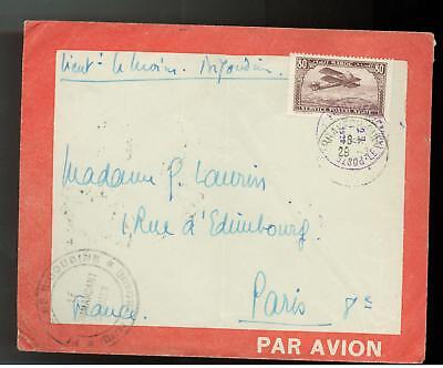 1928 Morocco to France Line Airmail Commandant Cover