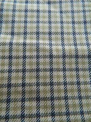 """Vintage smooth wool worsted suiting fabric -  blue & green check  60"""" x 31"""""""
