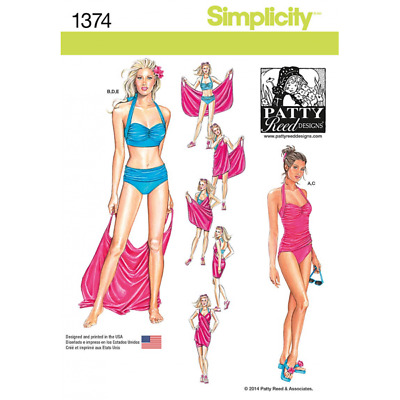Misses Two-Piece Swimsuit & Cover-up Simplicity Sewing Pattern 1374