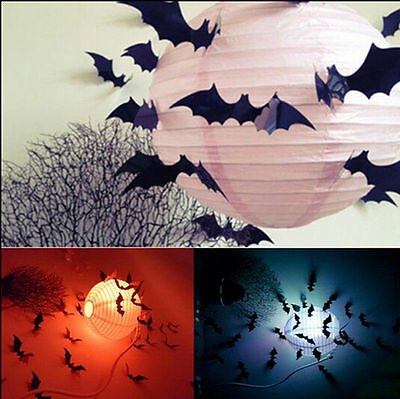 24Pcs Black 3D DIY Bat Wall Stickers Decal Halloween Party Decoration Home Decor