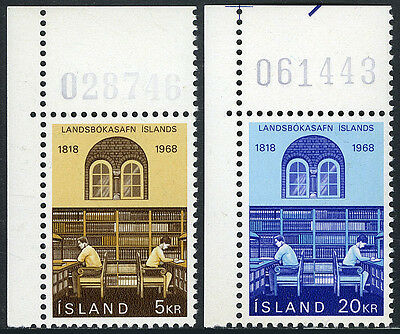 Iceland 400-401, MNH. Reading Room, National Library, 1968