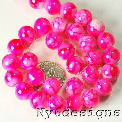 "12x12mm Hot Pink Porcelain Round Beads 15""(PO54)c"