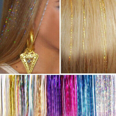 """1 Pack Hair Tinsel Sparkle Glitter Hair Extensions Highlights Long Straight 31"""""""