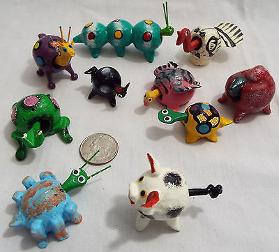 Lot of 10 Assorted Bobble Head Animals in Various Colors Turtle Bug Camel Frog