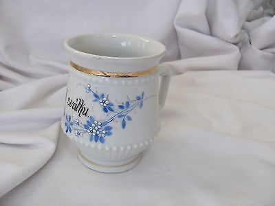 Victorian hand painted cup mug gold rims raised dots blue flowers K svathu
