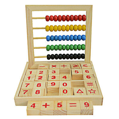 Wooden Abacus 5-row Colorful Beads Counting Kid Maths Learning Educational toy