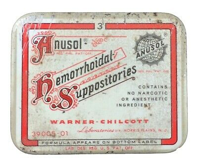 Vintage Anusol Hemorrhoidal Suppositories Tin Box Physician's Sample
