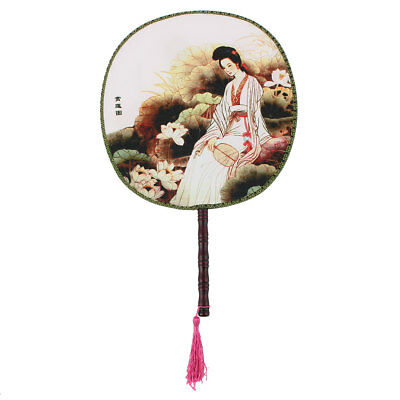 Lady Double-sided Picture Round Design Chinese Ancientry Handmade Hand Fan