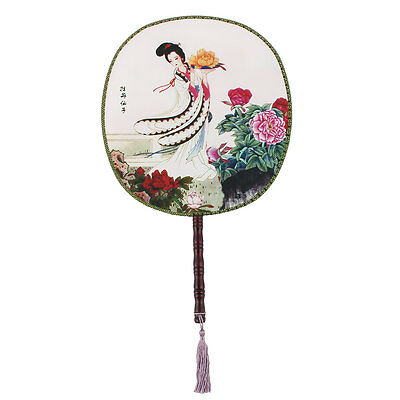 Bamboo Shaped Handle Round Design Chinese Ancientry Hand Fan for Women