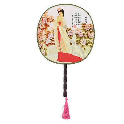 Women Double-sided Picture Round Design ChineseTraditional Style Hand Fan