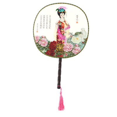 Lady Wooden Handle Round Design Chinese Traditional Handmade Style Hand Fan