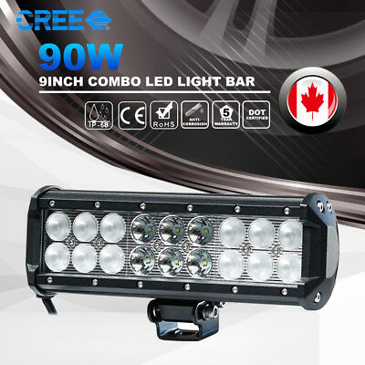 9Inch 90W CREE Led Work Light Bar Spot Flood Offroad Truck SUV 4WD Driving Lamps