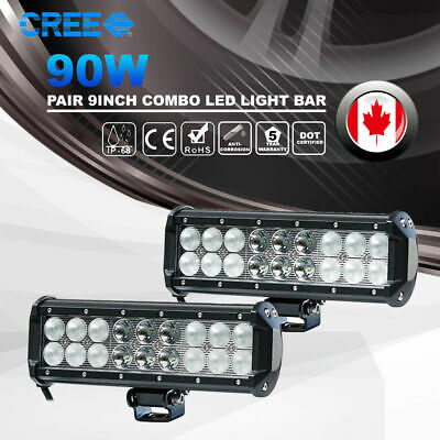 """9"""" Inch 90W CREE LED Work Light Bar Driving Lamp Spot Flood Combo 4WD Truck Jeep"""