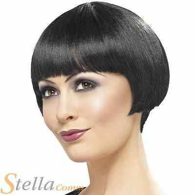 Ladies 1920s Black Bob Wig Charelston Flapper Moll Womens Fancy Dress Accessory
