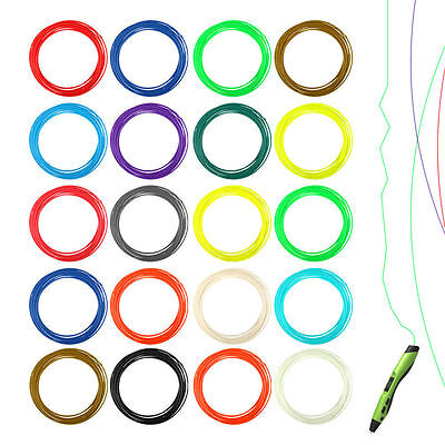 20 Couleur Assortiment filaments ABS pour stylo à impression 3D 1.75mm 0.55KG