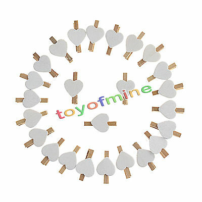25Pcs 35mm Mini Wooden Pegs Photo Clips Hearts White Wedding Decor Craft Gifts