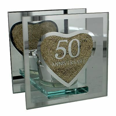 Julianna Anniversary Single Golden Glass Tealight Holder 50th Anniversary