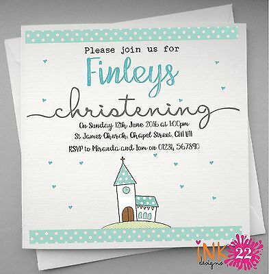 Personalised Invitations card pack Christening / Baptism x 10,20,30,40 Boy/Girl