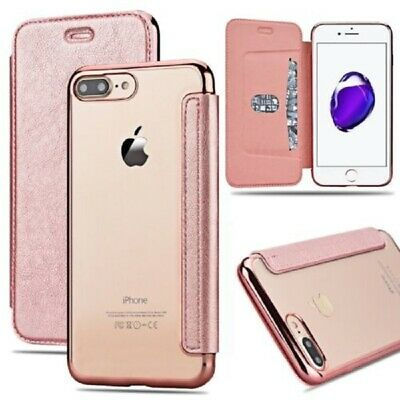 Luxury Flip Leather Wallet Clear TPU Back Case Cover For iPhone 6 6s 7 7 Plus
