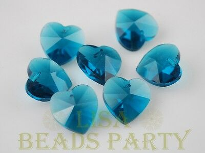 New 10pcs 14X8mm Heart Faceted Glass Pendant Loose Spacer Beads Peacock Blue