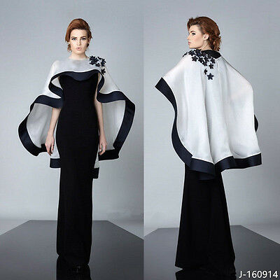 Black and White Sheath Floor Length Appliques with Cape Evening Party Dress