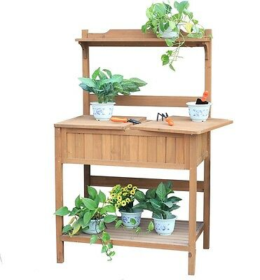 Charles Bentley Multi-functional Wooden Work Potting Bench Plant Storage Table