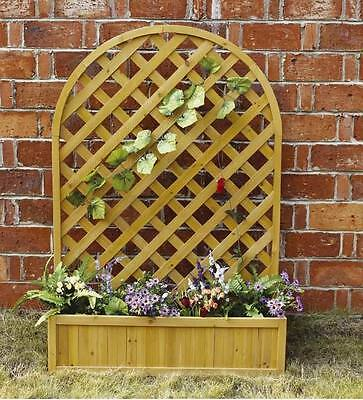 Charles Bentley Grow Wooden Rectangular Large Lattice Planter Pot With Trellis