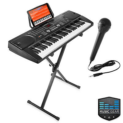 61 Key Electronic Piano Electric Organ Keyboard with Stand + Microphone - Black