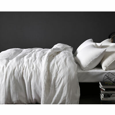 100% Pure Linen WHITE Quilt Doona Duvet Cover Set - All Sizes
