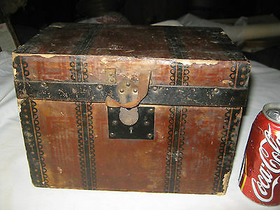 Antique Country Home Usa Primitive Tiny Wood Metal Toy Doll Box Trunk Chest Art